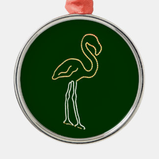 Fluorescent Flamingo Round Metal Christmas Ornament