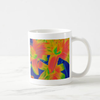 fluorescent flowers coffee mug