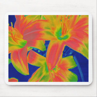fluorescent flowers mouse pad
