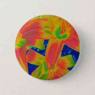fluorescent flowers pinback button