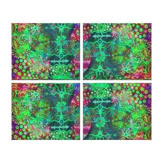 Fluorescent Flowers Quad Canvas Print wrappedcanvas