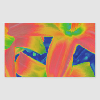 fluorescent flowers rectangular sticker