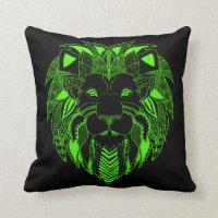 Fluorescent Green and Black Lion Throw Pillow
