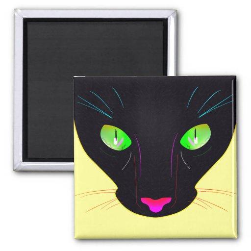 Fluorescent Green Cat Eyes Portrait 2 Inch Square Magnet
