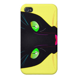 Fluorescent Green Cat Eyes Portrait iPhone 4 Cover