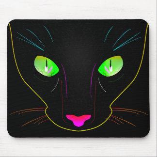 Fluorescent Green Cat Eyes Portrait Mouse Pad
