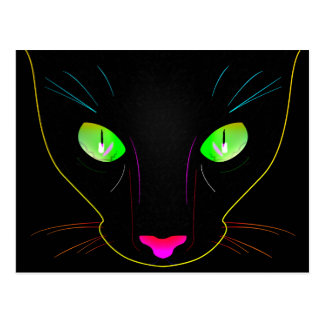 Fluorescent Green Cat Eyes Portrait Postcard