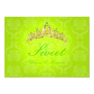 Fluorescent Green Damask Sweet 16/emerald tiara Card