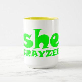 Fluorescent Green She Crayzee Mug