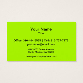 Fluorescent Green Solid Color Business Card
