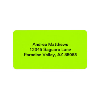 Fluorescent Green Solid Color Address Label