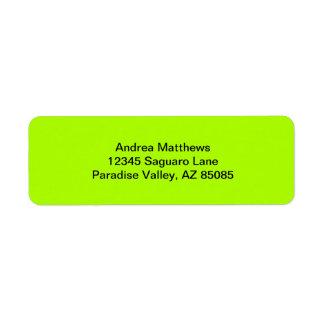 Fluorescent Green Solid Color Return Address Label