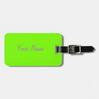 fluorescent green solid color bag tag