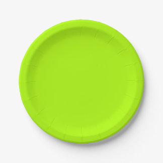 Fluorescent Green Solid Color Paper Plate
