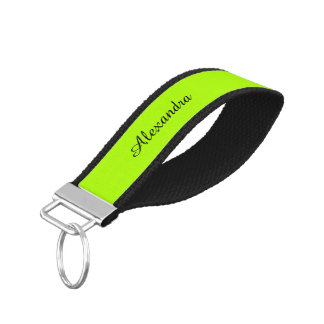 Fluorescent Green Solid Color Wrist Keychain