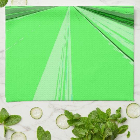 Fluorescent Green Vanishing Point Kitchen Towel