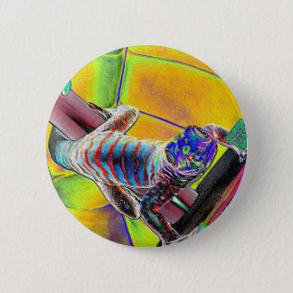 Fluorescent Lizard Pinback Button