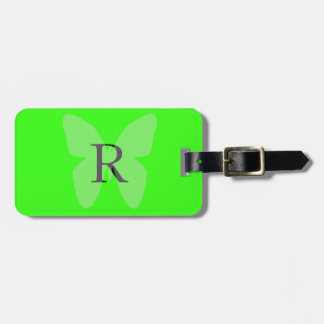 Fluorescent Neon Green Colorful Butterfly Pattern Bag Tag