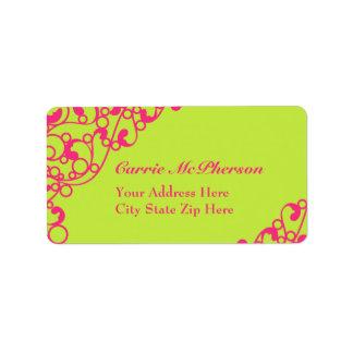 Fluorescent Neon Green & Pink Address Labels