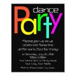 Fluorescent Neon lights Dance Party Invitation, Sm