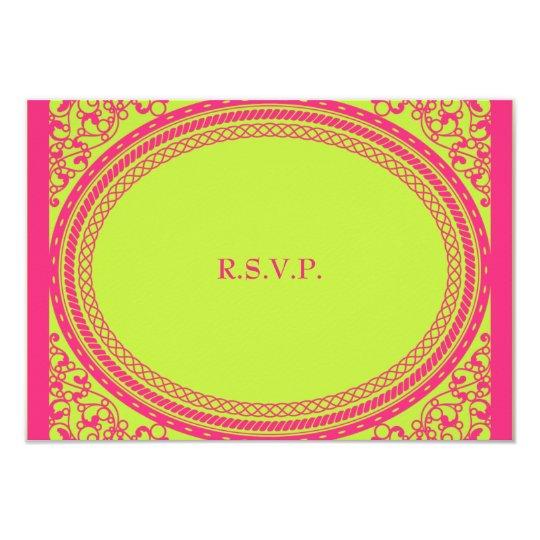 Fluorescent / Neon Wedding Reception RSVP Card