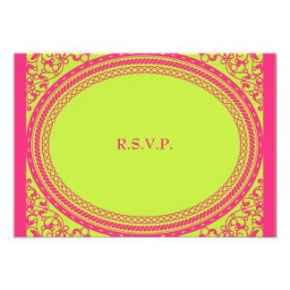 Fluorescent / Neon Wedding Reception RSVP Personalized Invitation