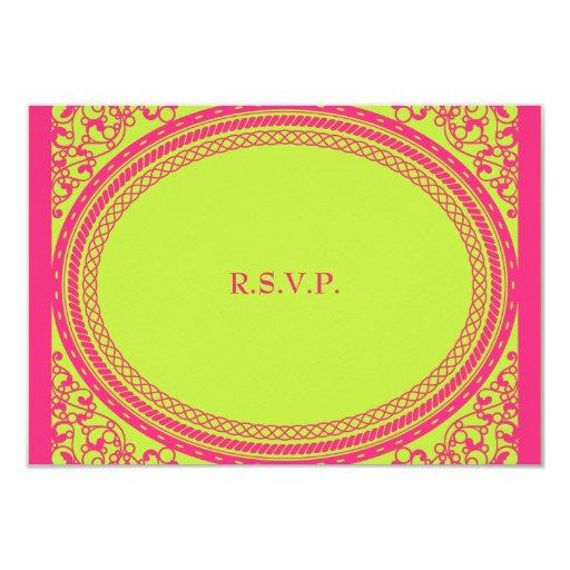 "Fluorescent / Neon Wedding Reception RSVP 3.5"" X 5"" Invitation Card"