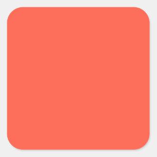 Fluorescent Orange Apricot Neon Coral Personalized Square Sticker