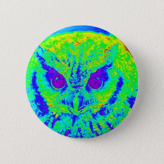 fluorescent owl pinback button