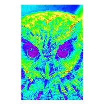 fluorescent owl stationery