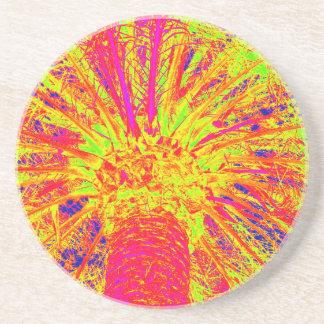 fluorescent palm sandstone coaster