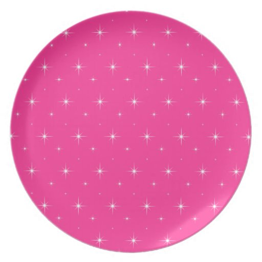 Fluorescent Pink And Bright Stars Elegant Pattern Party Plates