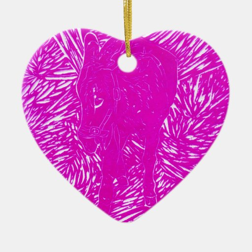 Fluorescent Pink Buford Double-Sided Heart Ceramic Christmas Ornament