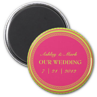 Fluorescent Pink Green Save the Date Magnets
