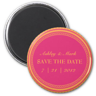 Fluorescent Pink Orange Save the Date Magnets
