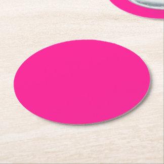 Fluorescent Pink Round Paper Coaster