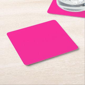 Fluorescent Pink Square Paper Coaster