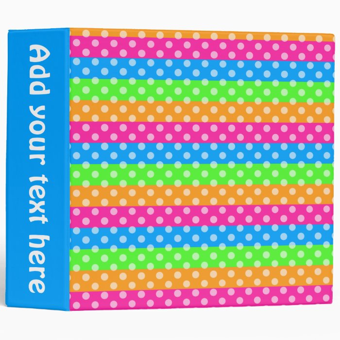 Fluorescent Rainbow with Polka Dots 3 Ring Binder