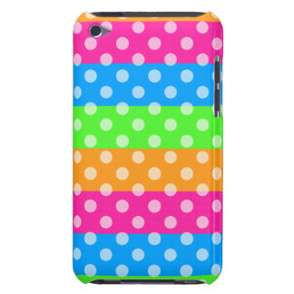 Fluorescent Rainbow with Polka Dots Barely There iPod Cases