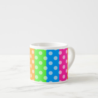 Fluorescent Rainbow with Polka Dots Espresso Cup