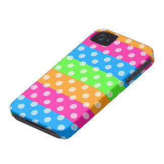Fluorescent Rainbow with Polka Dots iPhone 4 Case