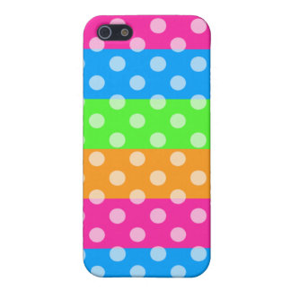 Fluorescent Rainbow with Polka Dots iPhone SE/5/5s Cover