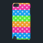 "Fluorescent Rainbow with Polka Dots iPod Touch (5th Generation) Cover<br><div class=""desc"">Bright and vivid fluorescent rainbow stripes,  in colors of blue,  pink,  orange,  and green,  have a pattern of white polka dots on top.</div>"