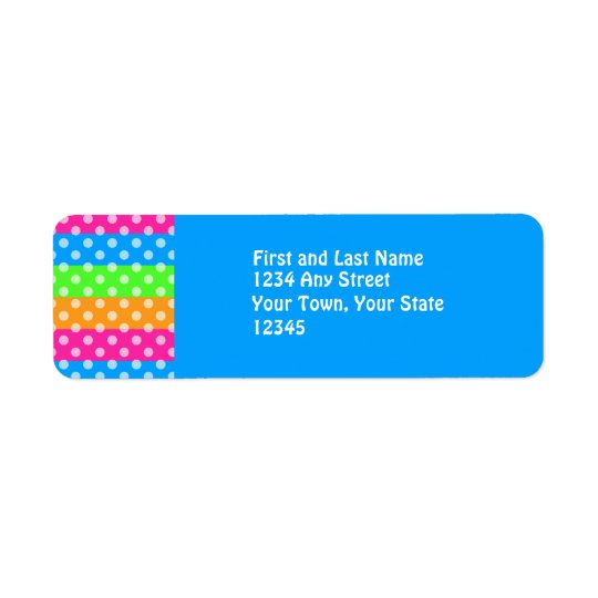 Fluorescent Rainbow with Polka Dots Label