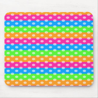 Fluorescent Rainbow with Polka Dots Mouse Pad