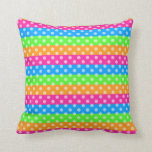 Fluorescent Rainbow with Polka Dots Pillows