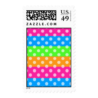 Fluorescent Rainbow with Polka Dots Postage