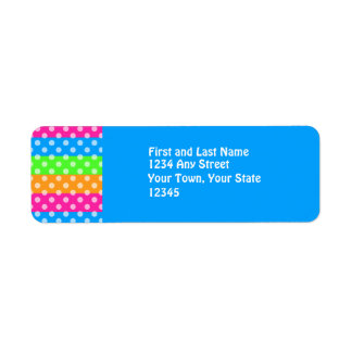 Fluorescent Rainbow with Polka Dots Return Address Label