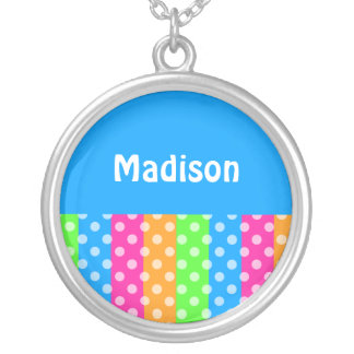 Fluorescent Rainbow with Polka Dots Silver Plated Necklace