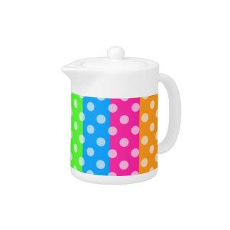 Fluorescent Rainbow with Polka Dots Teapot